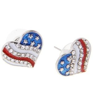 Jewelry - Heart shaped red white & blue earrings